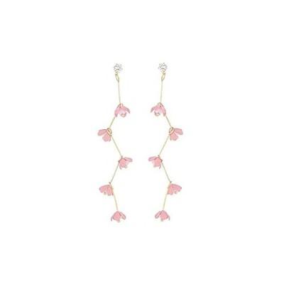 GBAHFY ボヘミアンロングタッセルピンクフラワーラインストーンイヤリング 美しいジュエリー ダングルイヤリング 女性用 ピンク