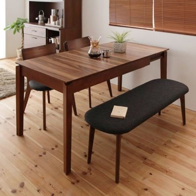 ダイニング 4点セット(テーブル+チェア2脚+ベンチ1脚) W120-180 天然木 ウォールナット エクステンション