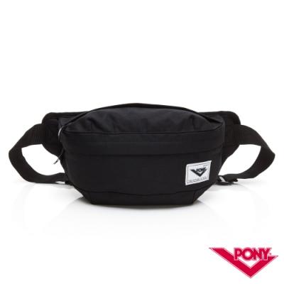 【PONY】運動休閒單肩胸背包 斜背包 腰包 黑