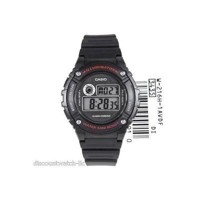カシオ 腕時計  Casio W216H-1A メンズ ブラック レジン 50M スポーツ 腕時計 LED ライト アラーム クロノグラフ