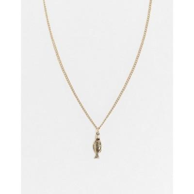 アイコンブランド メンズ ネックレス・チョーカー アクセサリー Icon Brand neckchain in gold with fish pendant Gold