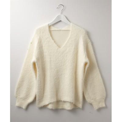 ふわふわフェザー前後Vネックニット (ニット・セーター)(レディース)Knitting, Sweater, テレワーク, 在宅, リモート