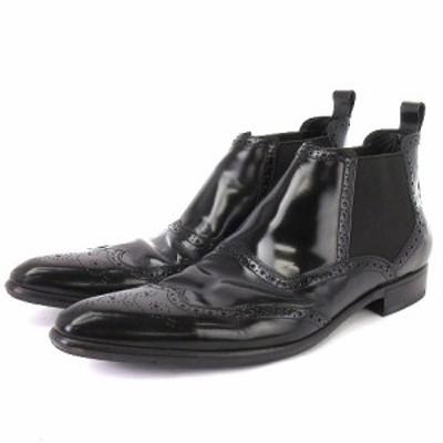 【中古】DOLCE&GABBANA サイドゴアブーツ ショート メダリオン エナメル 2076 5994 黒 8 1/2 靴