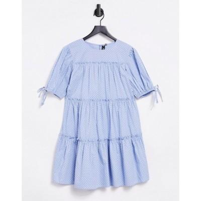 インフルエンス レディース ワンピース トップス Influence tie sleeve tiered mini dress in polka dot