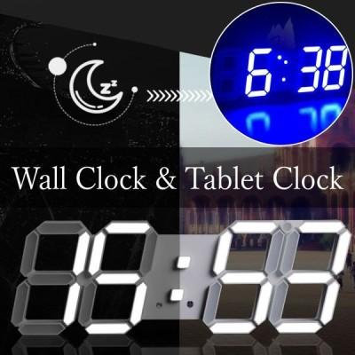 置時計 デジタル LED時計 デジタル目ざまし時計 卓上時計 壁掛け時計 置き時計 目覚まし時計 USB充電 輝度調整可能