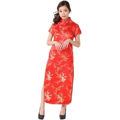 PixyParty(ピクシーパーティー) 梅柄刺繍 チャイナドレス ロングタイプ (レッド, Size:5L)