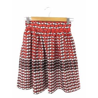 【中古】タラジャーモン  TARA JARMON スカート ギャザー ミニ 総柄 36 赤 レッド /AAM28 レディース