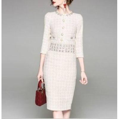 ワンピースドレス 春夏 お呼ばれ 大きいサイズ 30代 ひざ丈 七分袖 袖あり クルーネック タイト フォーマル スーツ