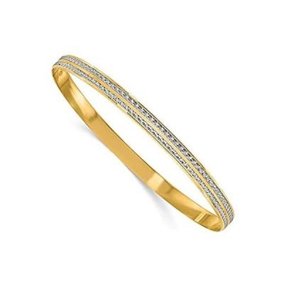 [新品]14k White and Yellow Gold Two Toned Diamond-Cut Bangle Cuff Bracelet 3/16 8