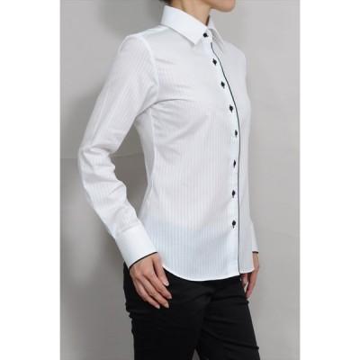 レディースシャツ ワイシャツ 白 オフィス ブラウス ビジネス 長袖 白シャツ ワイドカラーシャツ 形態安定 日本製 ナチュラルフィット トップス 大きい