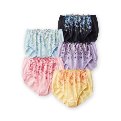 綿100%レーシー深ばきショーツ5枚組 スタンダードショーツ, Panties