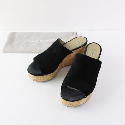 FABIO RUSCONI ファビオルスコーニ コルクソール スエード サンダル 36/ブラック 靴 2400011901163