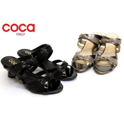 coca co115013 ウエッジソール Wリボンのフェミニン エナメル ミュール サンダル
