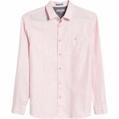 テッドベーカー TED BAKER LONDON メンズ シャツ スリム トップス Sauss Slim Fit Solid Linen and Cotton Button-Up Shirt Light Pink