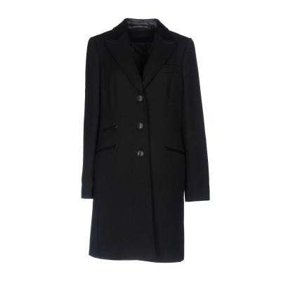 TRU TRUSSARDI コート ブラック 48 ポリエステル 69% / レーヨン 29% / ポリウレタン 2% / 羊類革 コート