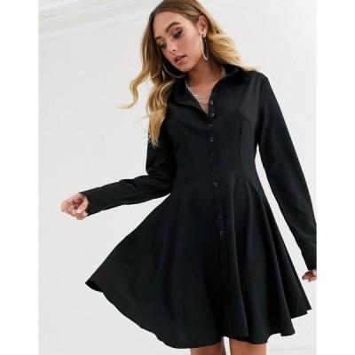 ミスガイデッド レディース ワンピース トップス Missguided skater long sleeve shirt dress in black Black