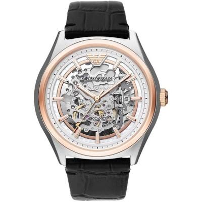 EMPORIO ARMANI エンポリオアルマーニ 腕時計 自動巻き ブラックレザー Meccanico メカニコ 並行輸入品 AR60018