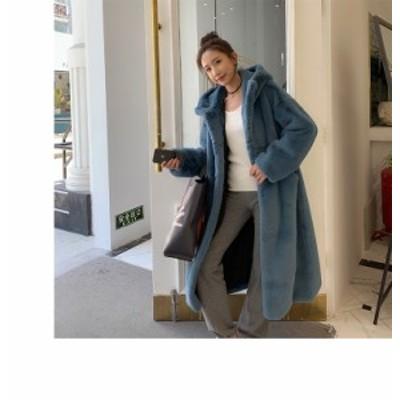 韓国 ファッション レディース ファー パーカー アウター ジャケット 大きいサイズ フード付き ビッグシルエット ふわふわ カジュアル