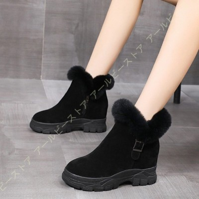 スノーブーツ スノーシューズ 防水 軽量 ウインターブーツ レディース 厚底 サイドジッパー ショートブーツ 裏起毛 防寒 保温 雪用靴 防寒靴 ムートンブーツ