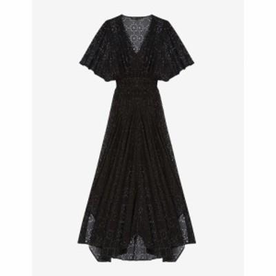 マージュ MAJE レディース ワンピース ワンピース・ドレス Rachellim openwork asymmetric muslin dress BLACK