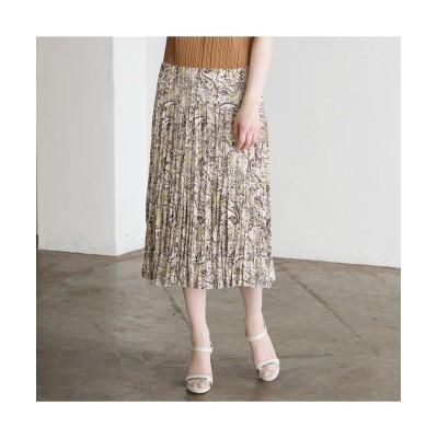 (Liliane Burty ECLAT/リリアンビューティエクラ)ペイズリープリント プリーツスカート【セットアップ可】/レディース ブラウン