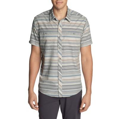 メンズ 半袖グリーンポイントパターンシャツ