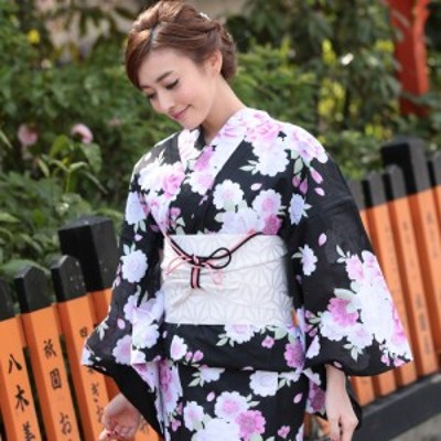 浴衣 レディース 浴衣単品 黒 ブラック 桜 バラ 華やか 浴衣 黒地に薔薇と八重桜(d5903)(浴衣単品) お祭り フェミニン 華やか 大