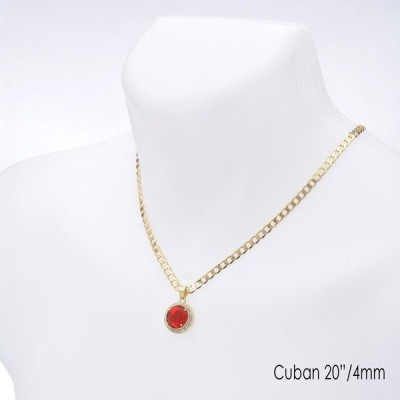 "ネックレス メタルツリー98 Men's Hip Hop Red Ruby CZ Pendant 20"" / 22"" Cuban Chain Necklace Set CP 220 G"