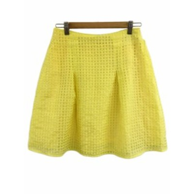 【中古】アーバンリサーチ URBAN RESEARCH スカート フレア ミニ 総柄 1 黄 イエロー レディース