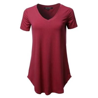 レディース 衣類 トップス Women's Solid Relaxed Fit V-Neck Short Sleeve Basic Tee Tシャツ