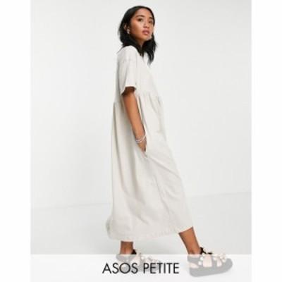 エイソス ASOS DESIGN レディース ワンピース ミドル丈 ワンピース・ドレス Petite oversized midi smock dress in stone ベージュ