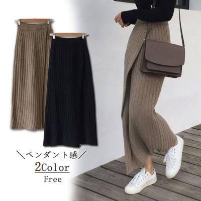 韓国公式サイト復古サイドのセクシーなデザイン感の高いウエストに細いペンシルスカートのニットスカートの半身の毛糸のロングスカートを見せます。