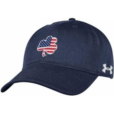 アンダーアーマー メンズ 帽子 アクセサリー Under Armour Men's Notre Dame Fighting Irish Navy 'USA' Shamrock Adjustable Hat