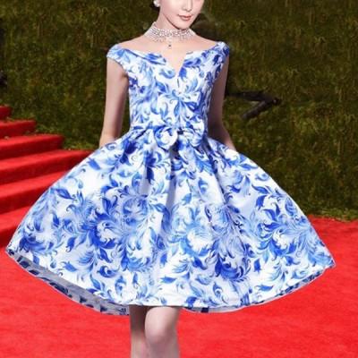 ドレス Aライン 花柄 膝丈 着痩せ リボン ウエストベルト 姫系ドレス