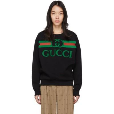 グッチ Gucci レディース スウェット・トレーナー トップス Black Oversized Logo Sweatshirt Black