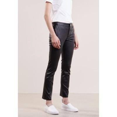 セカンド デイ レディース カジュアルパンツ ボトムス LEYA - Leather trousers - black black