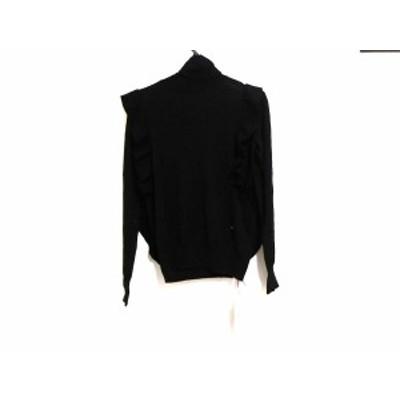 チェスティ Chesty 長袖セーター サイズF レディース 美品 黒 タートルネック/フリル【中古】20200306
