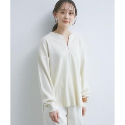 tシャツ Tシャツ チャイナ風スリットネックワッフルプルオーバー