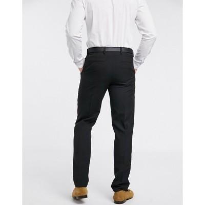ハリー・ブラウン メンズ カジュアルパンツ ボトムス Harry Brown slim fit plain suit pants BLACK