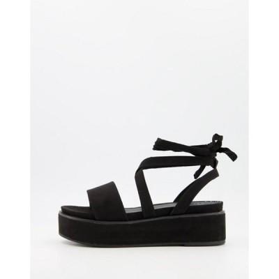 エイソス レディース サンダル シューズ ASOS DESIGN Tessa tie leg flatform sandals in black