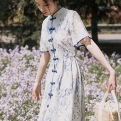 ワンピース きれいめ スカート ワンピース チャイナドレス ドレス パーティードレス 半袖 チャイナカラー バックリボン Aライン ひざ丈