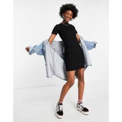 エイソス ミニドレス レディース ASOS DESIGN ribbed mini 2 in 1 cami dress with t-shirt in black エイソス ASOS ブラック 黒