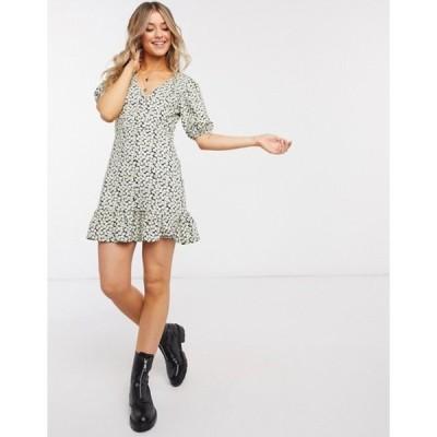 エイソス レディース ワンピース トップス ASOS DESIGN mini tea dress with button through in mono floral print