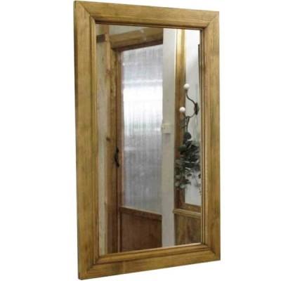 ウォールミラー アンティークブラウン w37d2h60cm 木製フレーム 木製 ひのき 受注製作