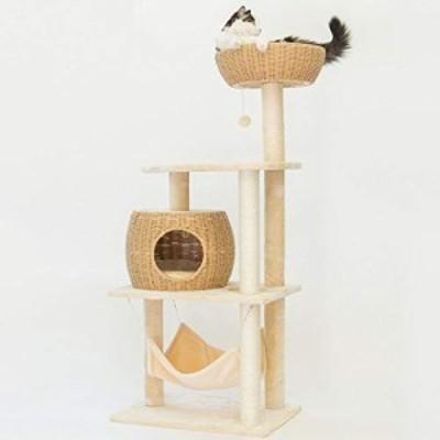 JJZD 快適な通気性の織猫のトイレ猫の木猫活動センターアパートメント猫は (新古未使用品)
