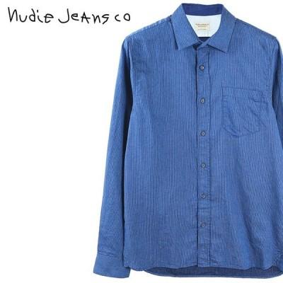 ヌーディージーンズ Nudie Jeans 長袖シャツ メンズ 薄手 ヘリンボーン HENRY/INDIGO HERRINGBONE