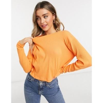 エイソス レディース シャツ トップス ASOS DESIGN boxy long sleeve t-shirt in laddered rib in orange