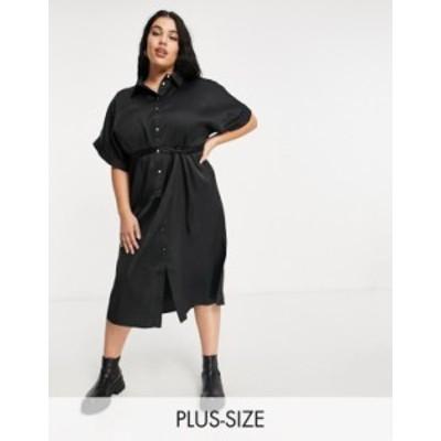 リバーアイランド レディース ワンピース トップス River Island Plus tie waist midi shirt dress in black Black