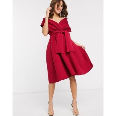 エイソス レディース ワンピース トップス ASOS DESIGN fallen shoulder midi prom dress with tie detail in red Red