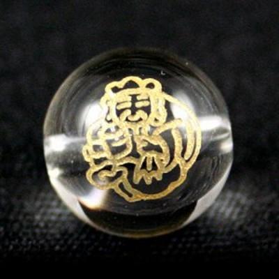 天然石 ビーズ【彫刻ビーズ】水晶 10mm 線彫り (金彫り) 七福神「大黒天」 パワーストーン
